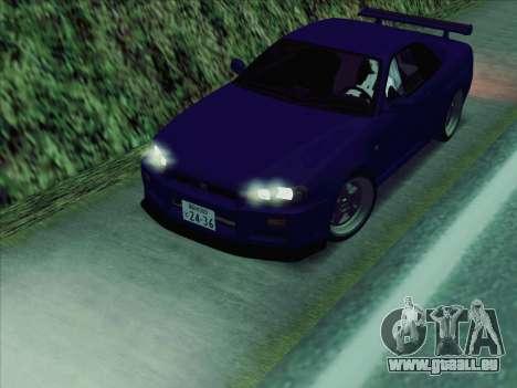 Nissan Skyline GT-R V-Spec (BNR34) für GTA San Andreas zurück linke Ansicht