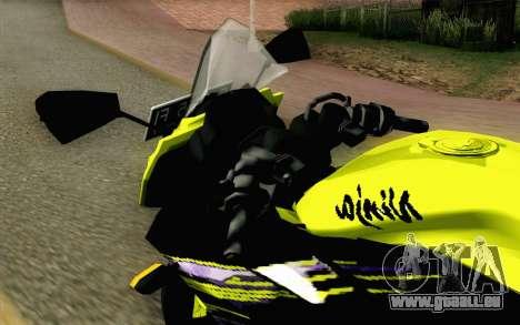 Kawasaki Ninja 250RR Mono Yellow für GTA San Andreas Rückansicht