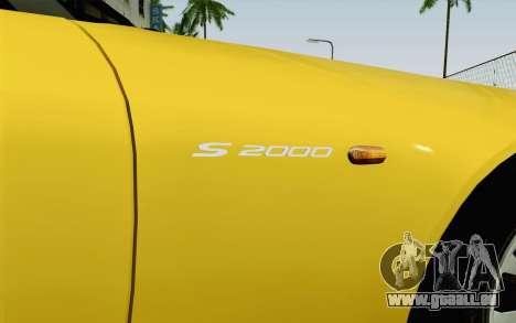 Honda S2000 Cabrio pour GTA San Andreas vue arrière