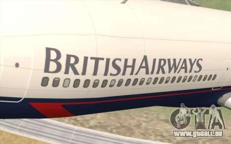 Lookheed L-1011 British Airways pour GTA San Andreas vue arrière