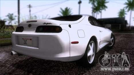 Toyota Supra US-Spec (JZA80) 1993 HQLM pour GTA San Andreas laissé vue