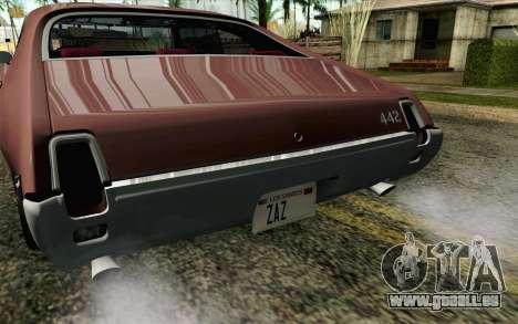 Oldsmobile 442 Holiday Coupe 1969 HQLM pour GTA San Andreas vue arrière