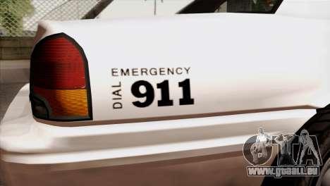 GTA 5 Vapid Stanier Sheriff pour GTA San Andreas vue arrière