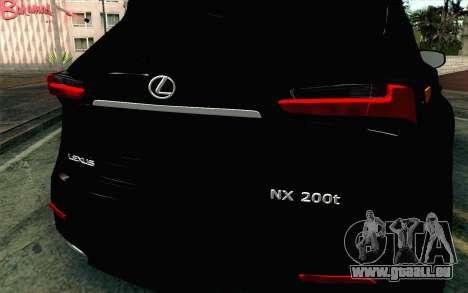 Lexus NX 200T v4 für GTA San Andreas Rückansicht