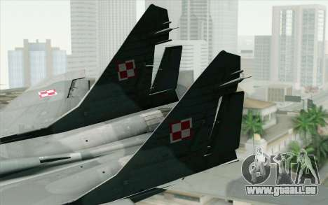 MIG-29 Polish Air Force für GTA San Andreas zurück linke Ansicht