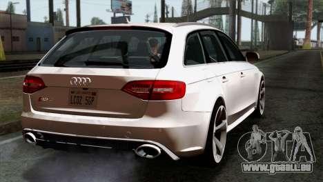 Audi RS4 Avant B8 2013 v3.0 pour GTA San Andreas laissé vue