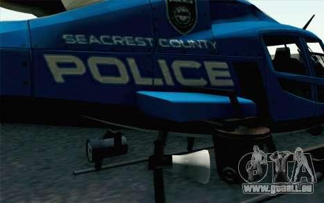 NFS HP 2010 Police Helicopter LVL 2 pour GTA San Andreas sur la vue arrière gauche