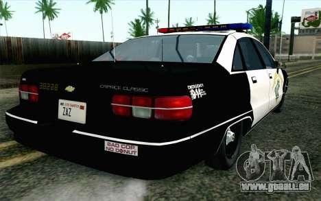 Chevy Caprice SAHP SAPD Highway Patrol v1 pour GTA San Andreas laissé vue