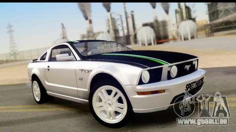 Ford Mustang GT pour GTA San Andreas vue de dessous
