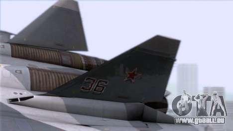 Sukhoi T-50 PAK FA Akula with Trinity für GTA San Andreas zurück linke Ansicht