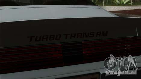 Pontiac Trans AM Interior pour GTA San Andreas vue de droite