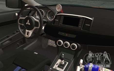 Mitsubishi Lancer Evolution X v2 für GTA San Andreas Rückansicht