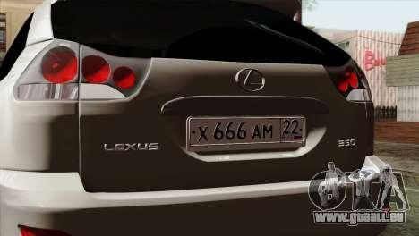 Lexus RX350 2009 für GTA San Andreas rechten Ansicht