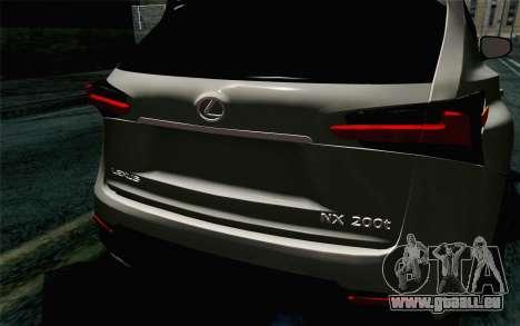 Lexus NX 200T v5 für GTA San Andreas Rückansicht
