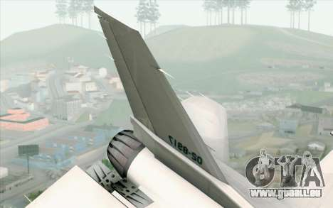 Mitsubishi F-2 White JASDF Skin pour GTA San Andreas sur la vue arrière gauche