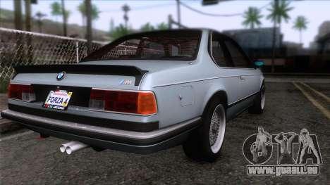 BMW M635 CSi 1984 Stock pour GTA San Andreas laissé vue