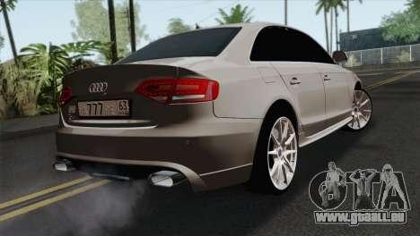 Audi S4 Sedan 2010 pour GTA San Andreas laissé vue
