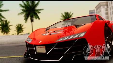 GTA 5 Pegassi Zentorno Zen Edition pour GTA San Andreas sur la vue arrière gauche
