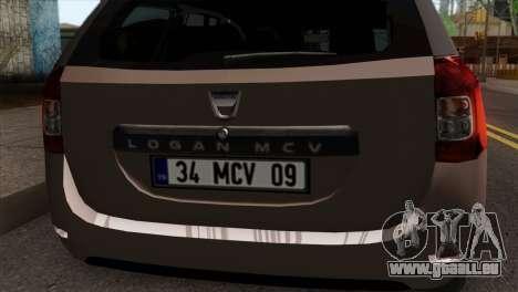 Dacia Logan MCV 2013 IVF pour GTA San Andreas vue arrière