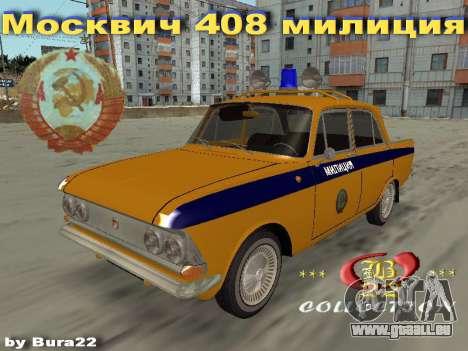 Moskvitch 408 Police pour GTA San Andreas laissé vue