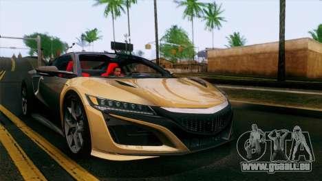 Acura NSX 2016 v1.0 SA Plate pour GTA San Andreas vue intérieure