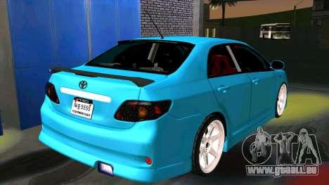 Toyota Corolla Altis pour GTA San Andreas sur la vue arrière gauche