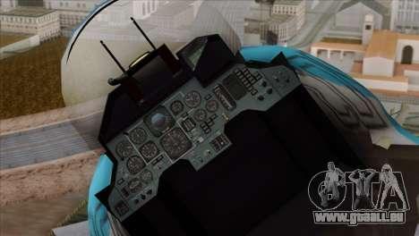 SU-33 Flanker-D Blue Camo für GTA San Andreas Rückansicht