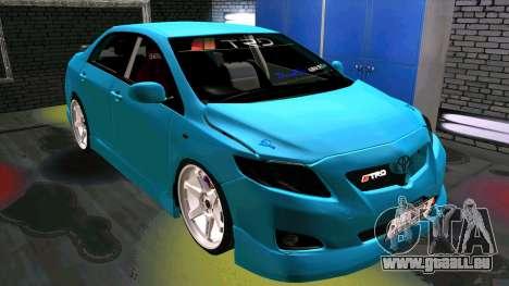 Toyota Corolla Altis pour GTA San Andreas laissé vue
