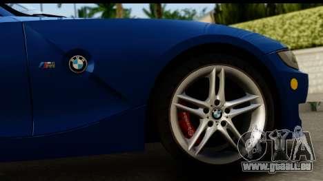 BMW Z4M Coupe 2008 pour GTA San Andreas vue arrière