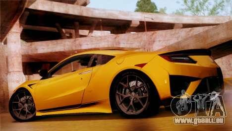 Acura NSX 2016 v1.0 SA Plate pour GTA San Andreas laissé vue