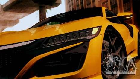 Acura NSX 2016 v1.0 SA Plate pour GTA San Andreas sur la vue arrière gauche