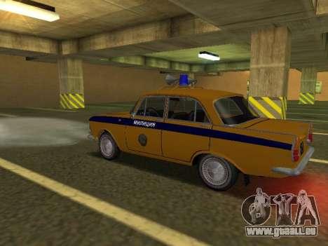 Moskvitch 408 Police pour GTA San Andreas sur la vue arrière gauche