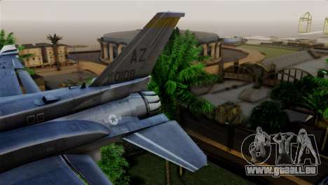 EMB F-16F Fighting Falcon US Air Force für GTA San Andreas zurück linke Ansicht