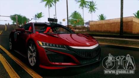 Acura NSX 2016 v1.0 SA Plate pour GTA San Andreas vue de dessus