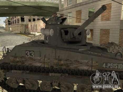 Tank M4 Sherman pour GTA San Andreas vue de droite