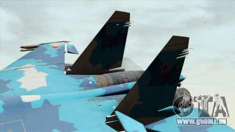 SU-33 Flanker-D Blue Camo pour GTA San Andreas sur la vue arrière gauche