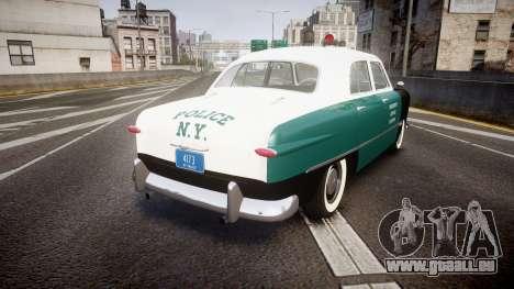 Ford Custom Fordor 1949 New York Police pour GTA 4 Vue arrière de la gauche