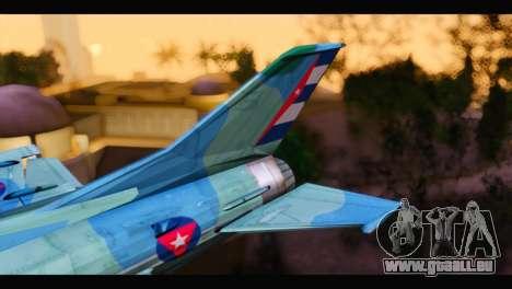 MIG-21MF Cuban Revolutionary Air Force pour GTA San Andreas sur la vue arrière gauche