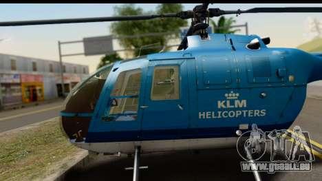 MBB Bo-105 KLM pour GTA San Andreas vue de droite