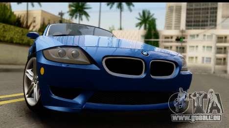 BMW Z4M Coupe 2008 für GTA San Andreas zurück linke Ansicht