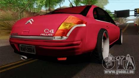 Citroen C4 Sedan pour GTA San Andreas laissé vue