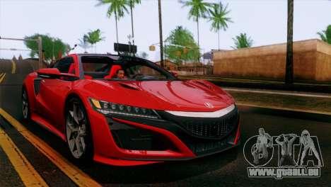 Acura NSX 2016 v1.0 SA Plate pour GTA San Andreas vue de côté