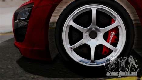 Audi R8 V10 v1.0 pour GTA San Andreas sur la vue arrière gauche