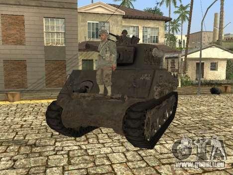 Tank M4 Sherman pour GTA San Andreas sur la vue arrière gauche