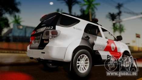 Toyota Hilux SW4 2014 Forca Tatica pour GTA San Andreas laissé vue