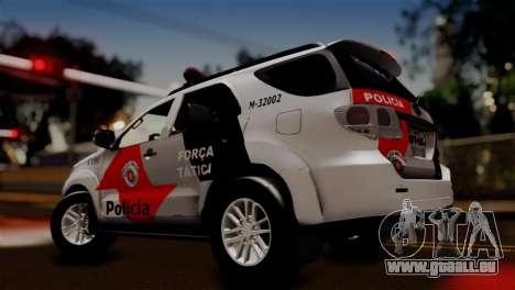 Toyota Hilux SW4 2014 Forca Tatica pour GTA San Andreas sur la vue arrière gauche