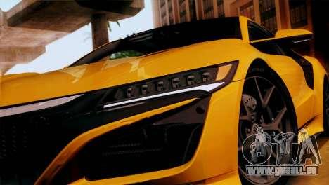 Acura NSX 2016 v1.0 SA Plate pour GTA San Andreas vue de droite