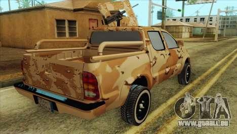 Toyota Hilux Siria Rebels without flag für GTA San Andreas zurück linke Ansicht