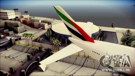 Airbus A380-800 Fly Emirates Airline für GTA San Andreas zurück linke Ansicht