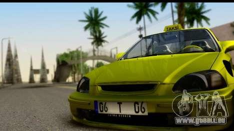 Honda Civic 1.4 Taxi für GTA San Andreas zurück linke Ansicht